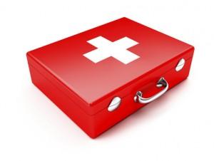 Roter erste Hilfe Koffer